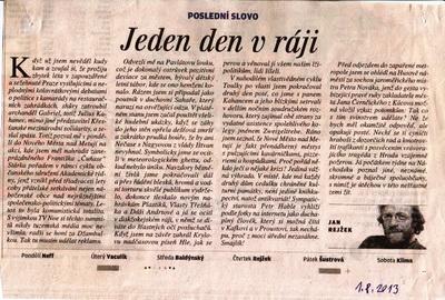 Poslední slovo, Jan Rejžek, článek v Lidových novinách